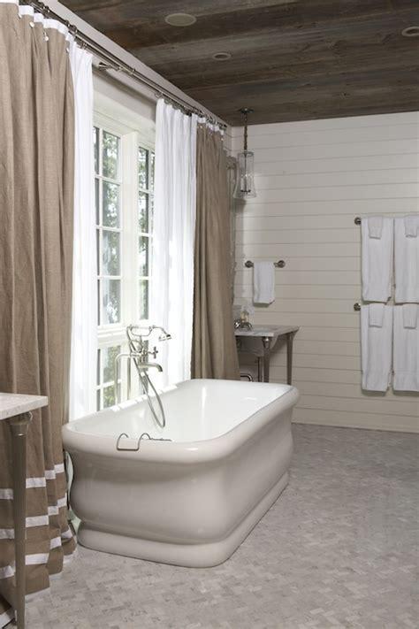 Marble Herringbone Floor   Cottage   bathroom   Tracery