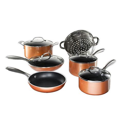 gotham steel copper cast textured nonstick aluminum  piece cookware set bed bath
