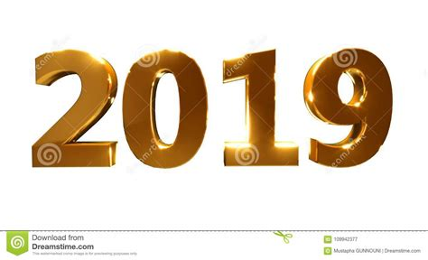 Happy New Year 2019 On A White Background Stock