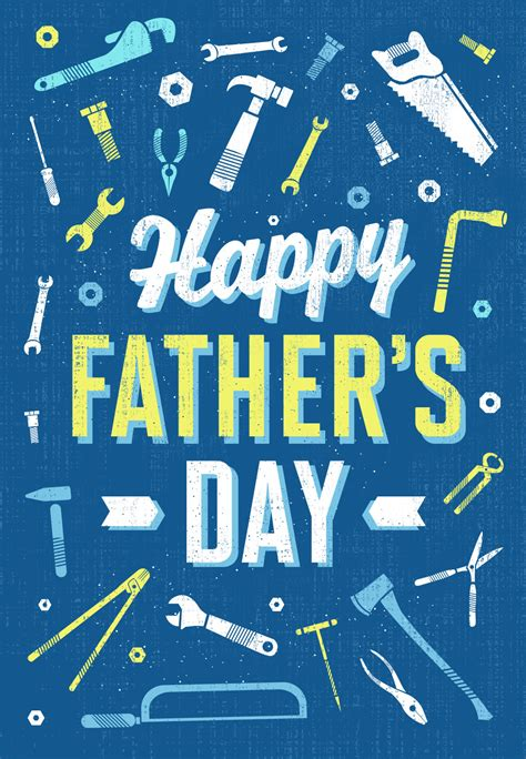 retro working tools fathers day card