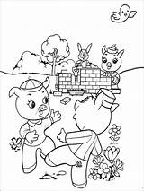 Pigs Three Coloring Pages Third Printable While Cartoons Playing Working Cartoon Recommended Pdf Coloringpages101 Others Houses sketch template