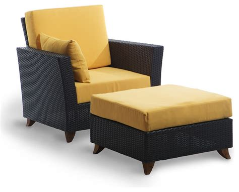 rattan chair ottoman set with yellow cushion traditional