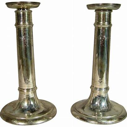 Tiffany Candlesticks Antique Silver Sterling Etched Ruby