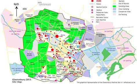 Glastonbury Festival 2013 Site Map  Efestivalscouk