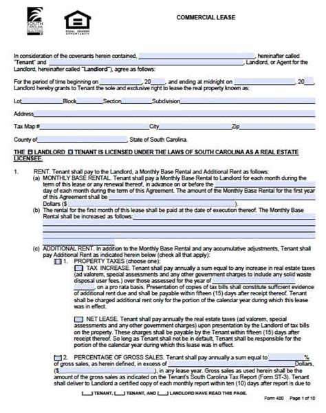 Commercial Building Lease Agreement Template by Free South Carolina Commercial Lease Agreement Form Pdf