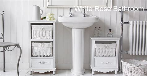 Rose Free Standing Small Bathroom Cabinet-white Cottage
