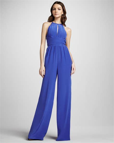 blue jumpsuits l 39 agence keyhole wideleg jumpsuit in blue electric blue