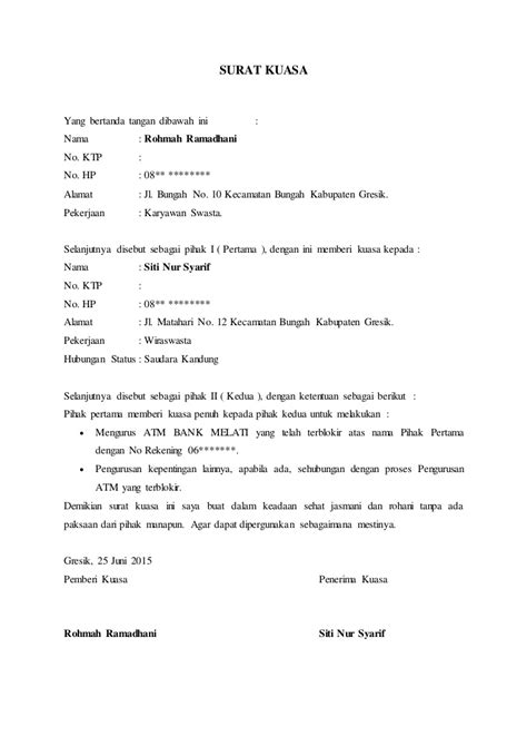 contoh surat kuasa atm terblokir