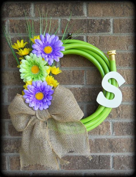 Water Garden Hose Wreath With Flowers By