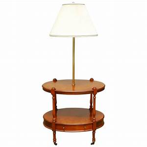 two tier oval side table with brass lamp by frederick With frederick cooper floor lamp with table