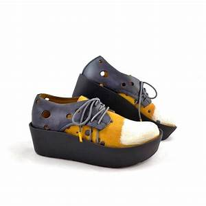 Papucei Mi Chunky Flatform Lace Up Shoes in Yellow/Navy ...