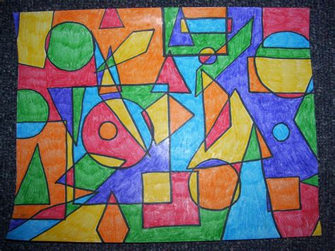 Abstract Painting Using Shapes by Visual Elements And Principles Of Design Experiential