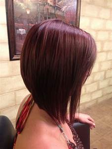 Long angled bob (A-line haircut) with a dramatic angle and ...