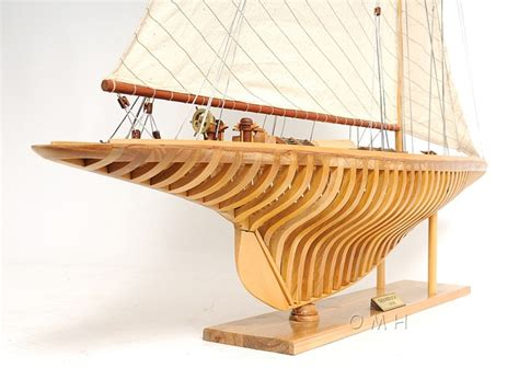 shamrock  exposed ribs open hull wood model  americas cup yacht sailboat ebay