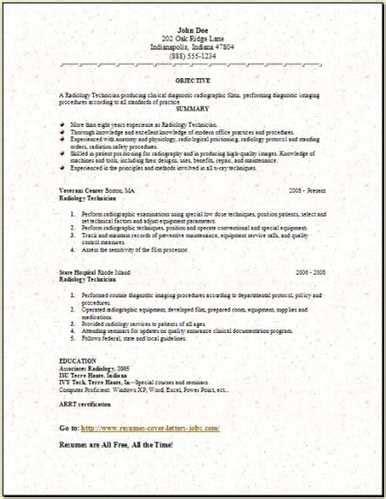 sle radiology technician resume