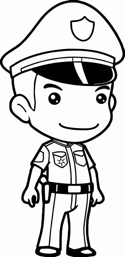 Policeman Police Coloring Drawing Cop Pages Officer