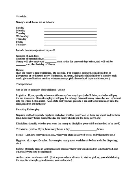 nanny contract template sle nanny contract free