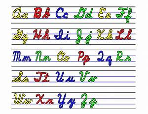 alphabet teaching through visual cards school of educators With cursive letters upper and lower case