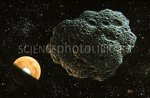 Illustration of asteroid Amor passing Mars - Stock Image ...