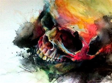Colorful Skull Watercolor Art  Tumblr  • Art Therapy