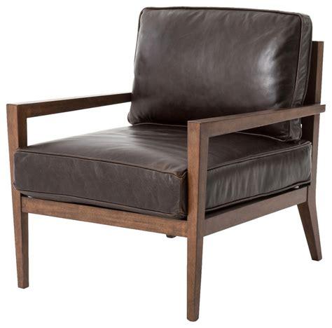 Kyrie Modern Classic Brown Leather Angular Armchair