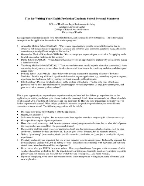 Personal Statement On Resume For Graduate School by Personal Statement Exles For Graduate School Science