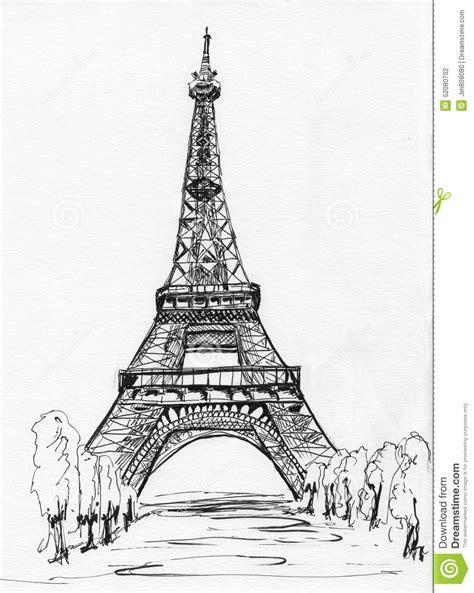 Paris Eiffel Tower Sketch Stock Illustration Illustration