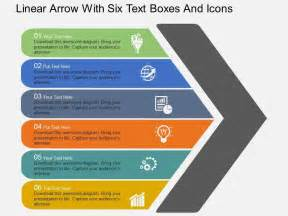 design fã r powerpoint rj linear arrow with six text boxes and icons flat powerpoint design