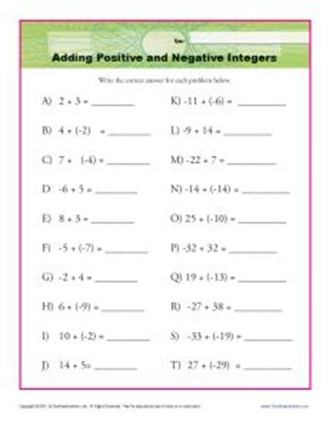 adding positive and negative integers interger worksheets