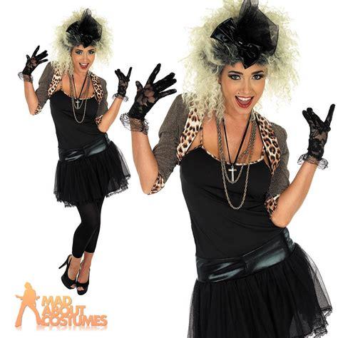 80s Pop Star Costume Wild Child Fancy Dress Madonna Outfit Ladies Womens UK 8-26 | eBay