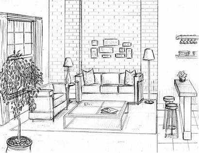 Perspective Drawing Interior Living Sketches Point Sketch