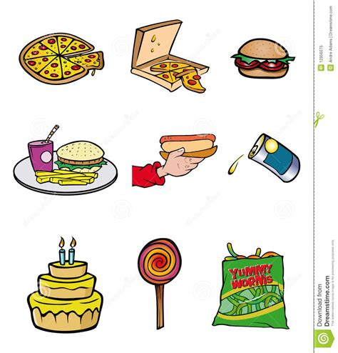 junk food collection stock vector illustration