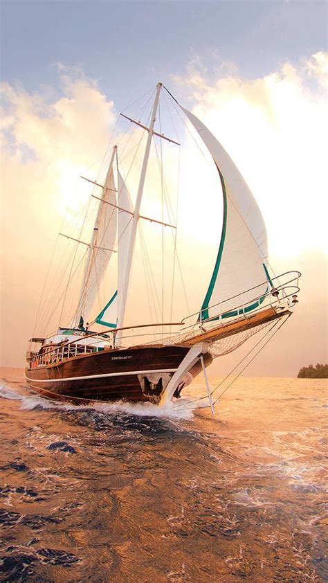 sailboat boat sea evening sunset wallpaper wallpapersbyte