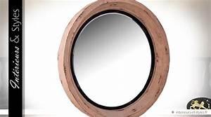 Miroir Rond à Suspendre : grand miroir rond en bois massif et m tal 89 cm ~ Teatrodelosmanantiales.com Idées de Décoration