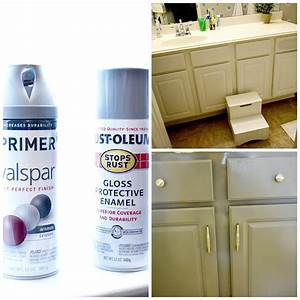 How to spray paint cabinets bathroom makeover for What kind of paint to use on kitchen cabinets for bathroom wall art pictures