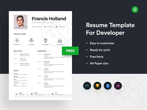 Where To Get Free Resume Templates by Free Resume Template For Designer Get Psd Sketch