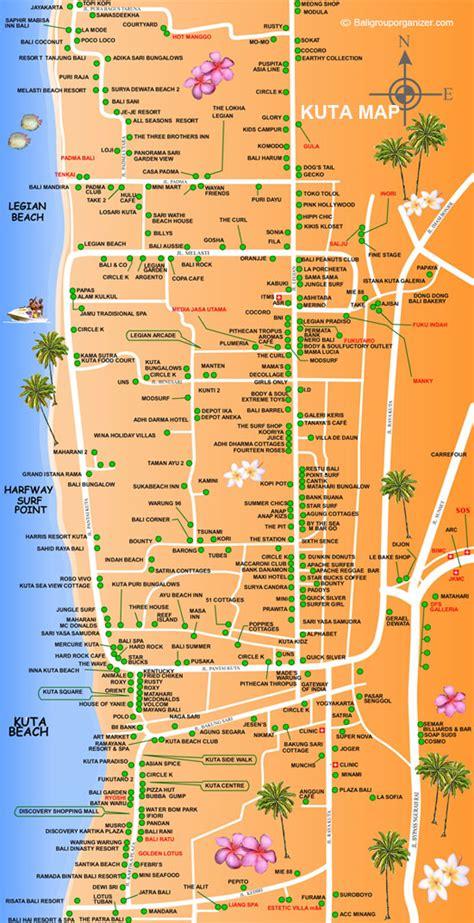 kuta map bali places  stay