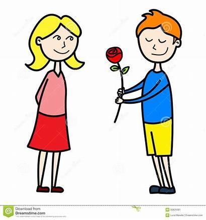Clipart Date Lovers Girlfriend Girlfriends Giving Rose