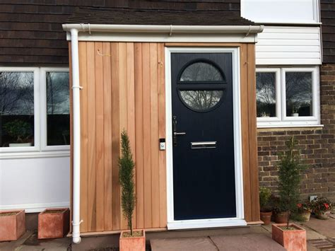 front porch cedar cladding carpentry job  crawley