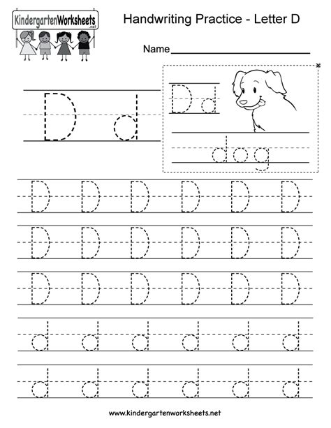 letter d writing practice worksheet this series of
