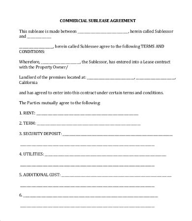 Commercial Sublease Agreement Templates by Commercial Lease Agreement Template 12 Free Word Pdf