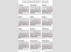 Calendário 2018 Impressão Portugal PDF para impressão livre