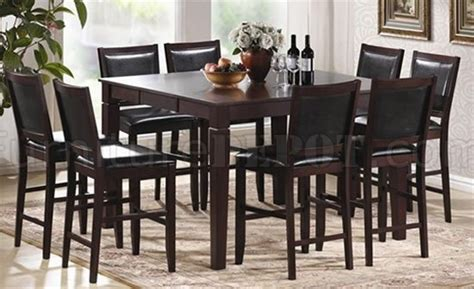 counter height modern table w optional bycast leather chairs