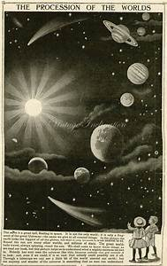 Vintage 1910 Antique SOLAR SYSTEM astronomy constellations