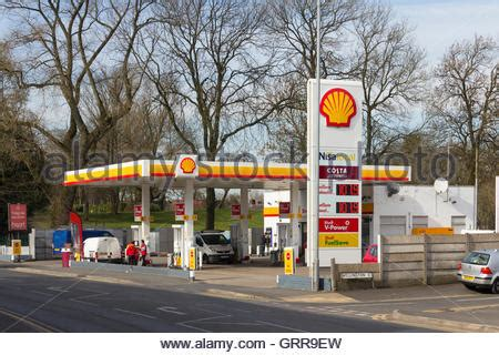 Shell Garage M1 by Petrol Pumps On A Shell Station Forecourt Stock Photo