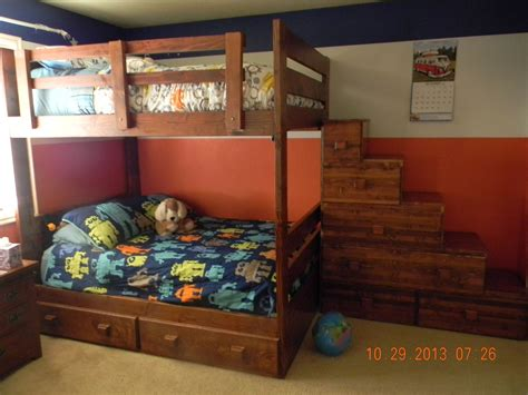 bunk beds rooms to go custom full over full bunk bed with drawers and stairs by 18394 | 165038.502248