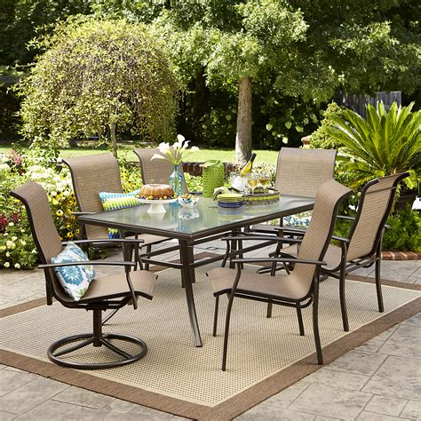 Outside Garden Furniture by Garden Oasis Harrison 7 Pc Textured Glass Top Dining Set