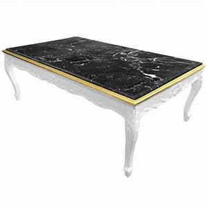 Table Basse Blanc Laqué Et Bois : grande table basse de style baroque bois laqu blanc et marbre noir ~ Teatrodelosmanantiales.com Idées de Décoration