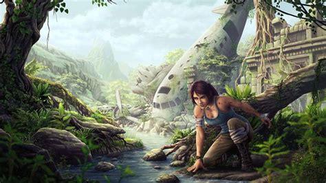Lara Croft Tomb Raider Drawing Airplane Plane Jungle