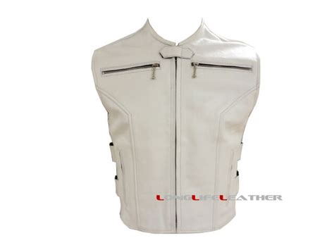 Mens Thick Solid White Leather Motorcycle Biker Vest W